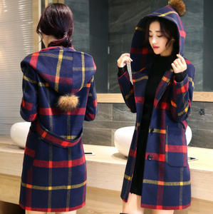 British College wind wool coat plaid long hooded woolen coat wool ball