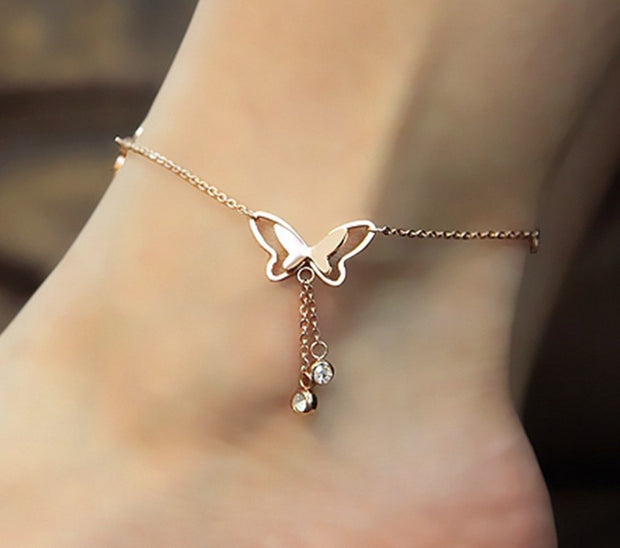 H: HYDE Butterfly Anklet Pendant Tassel Rhinestone Ankle Bracelet Beach Foot Chain For Women Girl Charms Barefoot Sandals Jewelry
