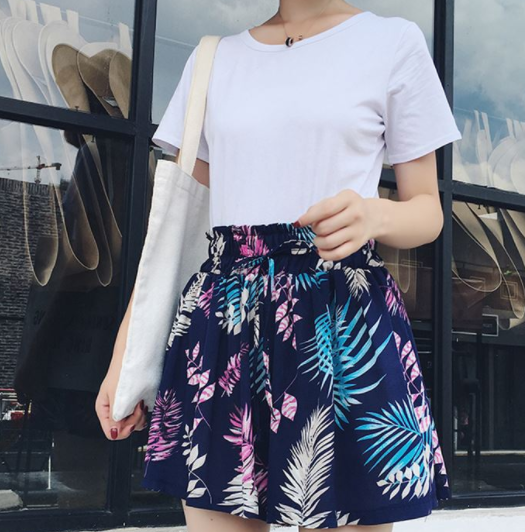 Printed Wide Leg Short Skirts