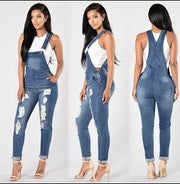 Jeans hole high elastic feet fashion denim strap pants