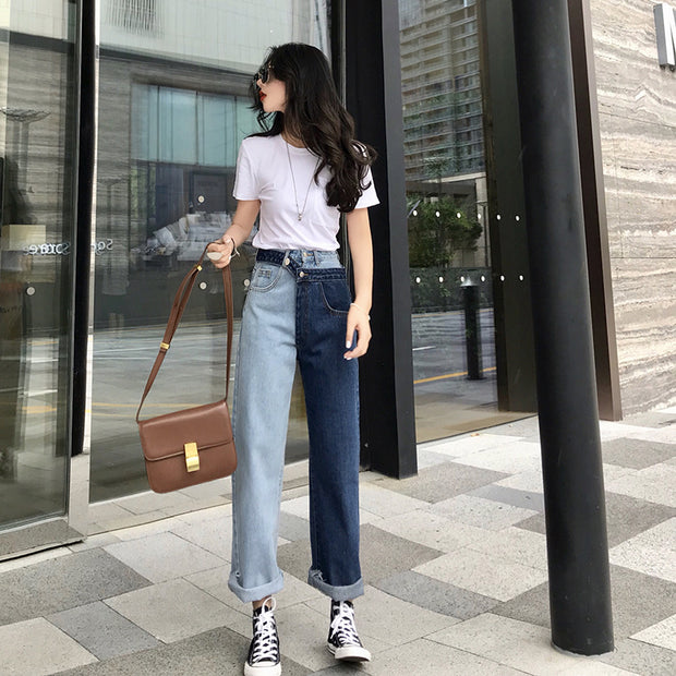 Spring fake two-color contrast stitching jeans Korean fashion new Hong Kong flavor straight nine pants women