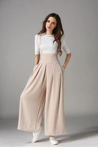 Women Trending High Waist Strap Wide-leg Pants