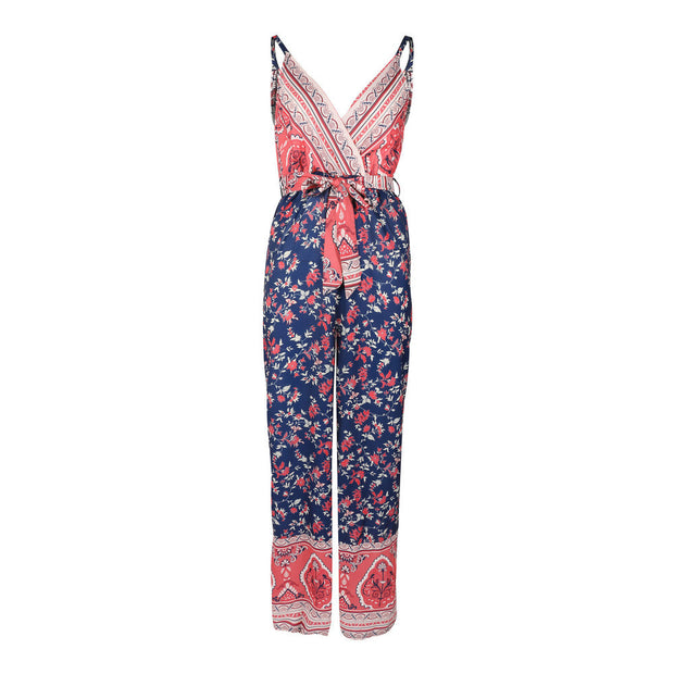 Europe and the United States spring and summer EBAY hot sale jumpsuit sexy sling straps waist print jumpsuit ZC3075