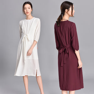 Spring 2019 New Style Comfortable Pure Color Dresses