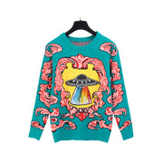 Vintage loose jacquard sweater round neck pullover UFO embroidery hair