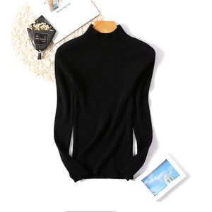 Solid Long Sleeve High-neck Knitted Sweater