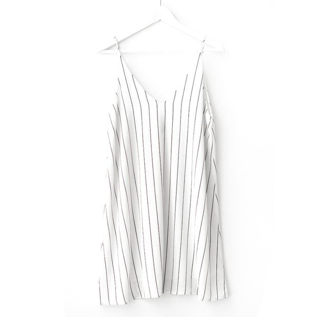 V-neck large striped loose strap skirt