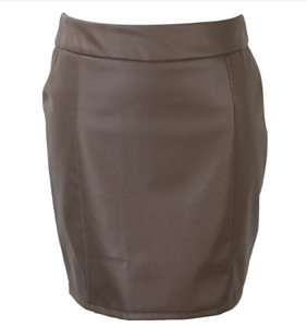 Women Leather Zipper High Waist Pencil Skirts