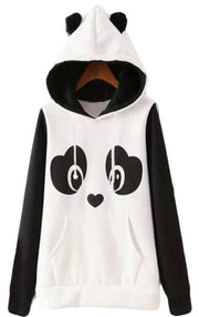 Hippie cute panda print fleece black and white contrast color pocket sweater