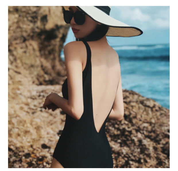 Swimsuit female Siamese backless conservative sexy lady solid color black cover belly Korean bikini hot spring swimsuit