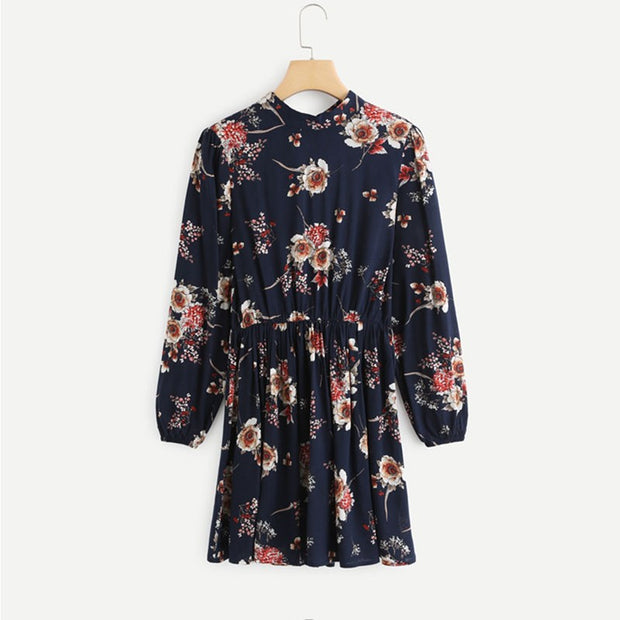Autumn Floral Women Dresses Multicolor Elegant Long Sleeve High Waist A Line Chic Dress Ladies Tie Neck Dress