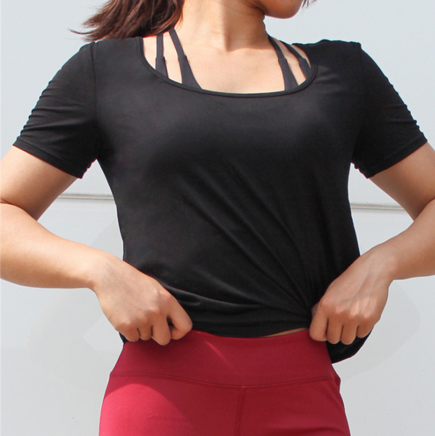 Breathable Backless Short Sleeve Yoga Top