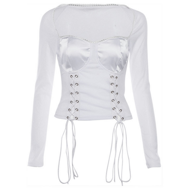 Long-sleeved mesh gauze with a hole and a navel T-shirt