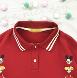 Japanese children's poached egg spotted dog and fluffy embroidery striped lapels red short-sleeved polo shirt T-shirt