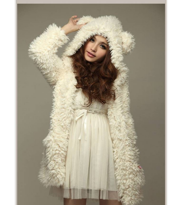 Autumn and winter new European and American large size loose long section bear ears hooded plush coat female