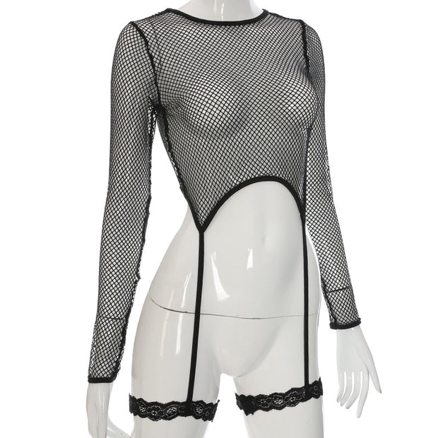 Sexy Mesh long-sleeved Blouse Tops