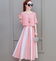 2018 summer new Korean version of the cold wind super fairy waist chiffon dress girl heart was thin and gentle skirt