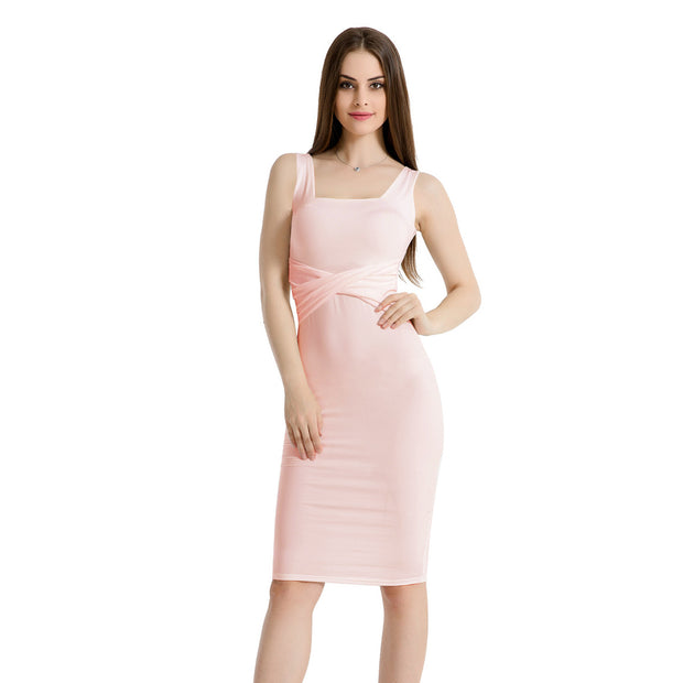 Sleeveless square collar pleated Sexy Bodycon dress