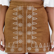 Embroidery A-line Skirt (Black and Brown)