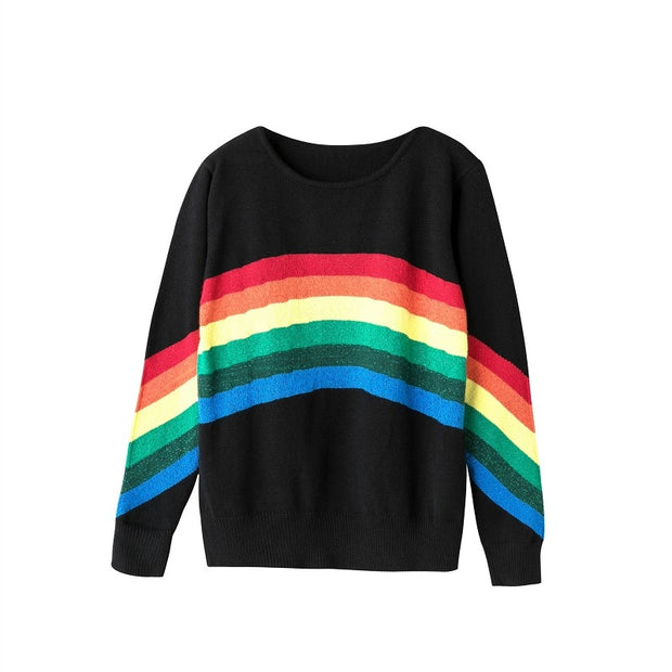 Rainbow Striped Knitted Loose O-Neck Pullover Sweater