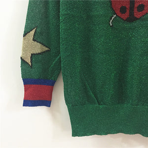 The Ladybug Star Pattern Velvet Sweater