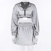 Hooded Long-sleeved Jacket and Elastic Waist Shorts Suit