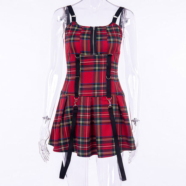 Chain Plaid Stitching Sexy Sling Dress 2018 Fall Winter Explosion Season Dress