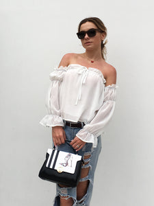 One-shoulder ruffled puff sleeves chiffon blouse