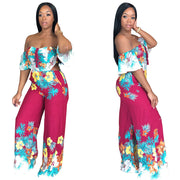 Off-shoulder Self Tied Floral Print Jumpsuit