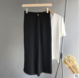 Half elastic waist nine loose straight leg pants
