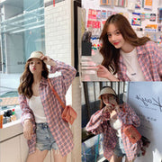 Hong Kong girl plaid shirt