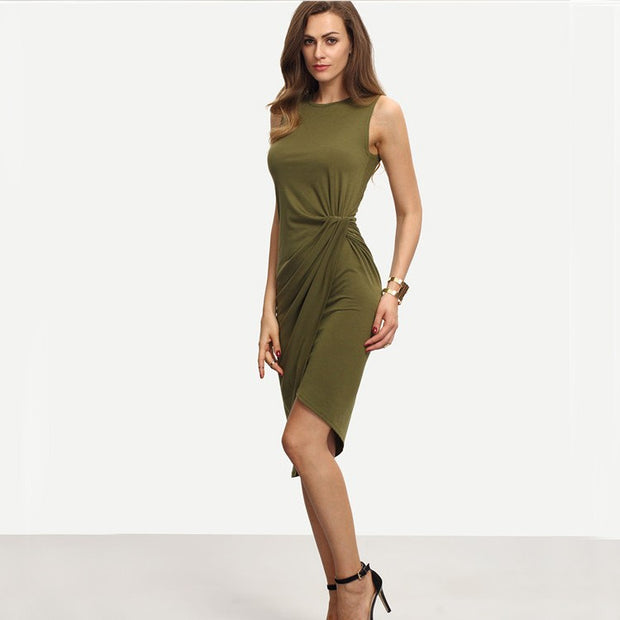 Army Elegant Sexy Green Women Dresses