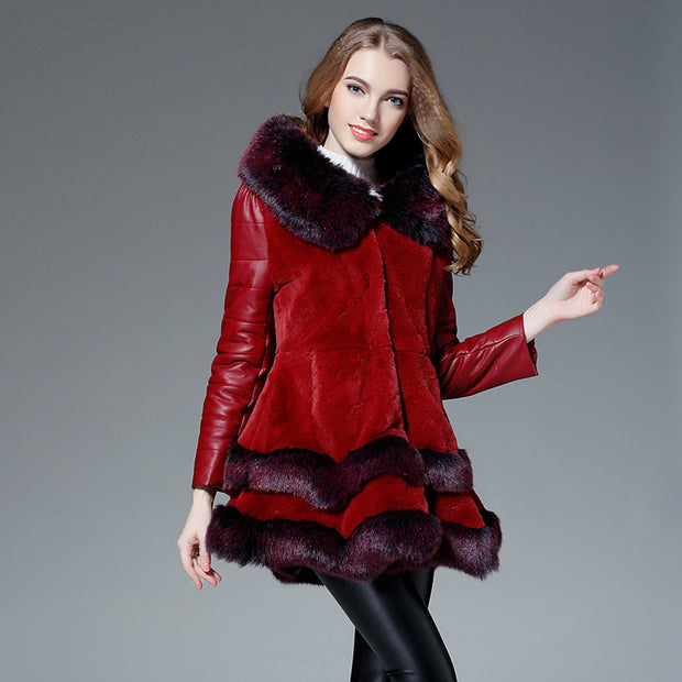 New Haining fur coat female fur one fox fur hooded coat large size women's clothing