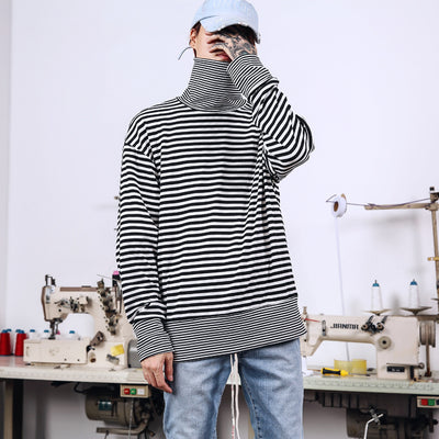 INS super fire high street hip hop street dance OVERSIZE loose high collar striped stitching bottom couple models long-sleeved T-shirt