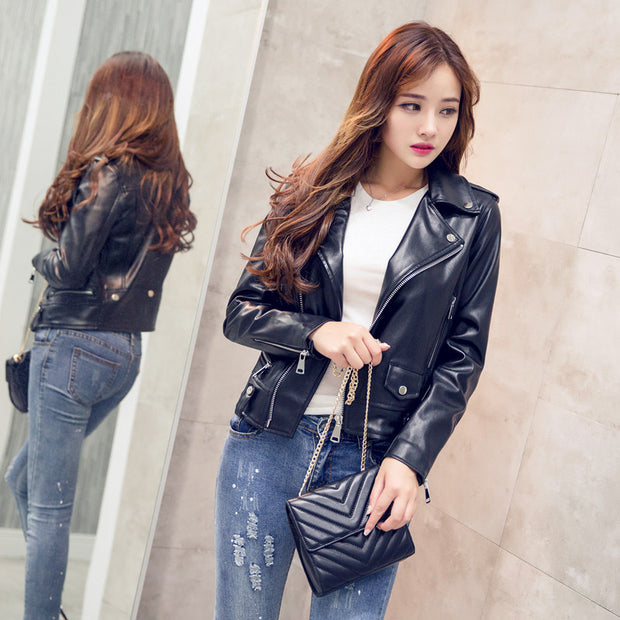 2018 motorcycle leather female short pu leather lapel jacket spring and autumn slim slim women's European and American leather jacket women's clothing
