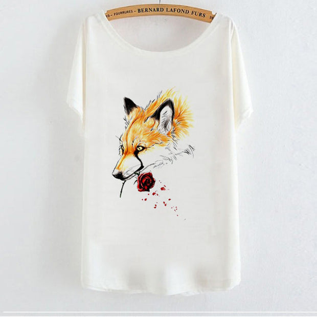 Bat Sleeve Short Sleeve T-Shirt Fox Animal Pattern
