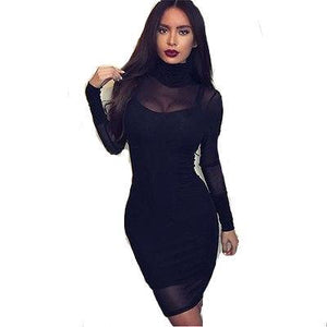 Women's transparent lined long sleeve dress