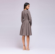 European and American Polka Dot Long Sleeve Casual Slim Midi Dress