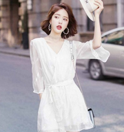 White chiffon dress female summer 2018 new European root embroidery V-neck long ins super fire skirt