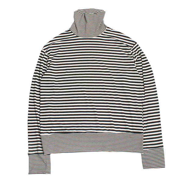Loose high collar striped stitching long-sleeved T-shirt