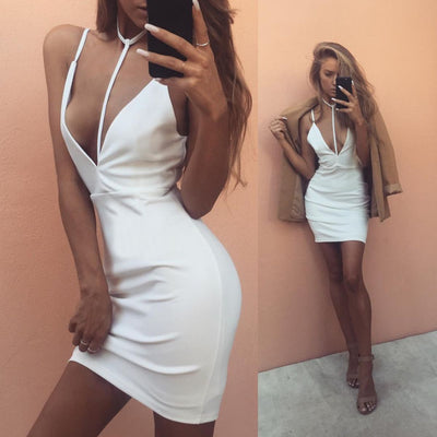 USA SIZE European and American sexy dress white sling V-neck halter nightclub skirt
