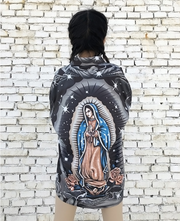 2018 spring new personality dark virgin mary print oversize loose long-sleeved shirt men and women models
