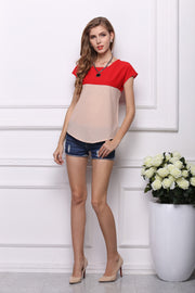 USA SIZE Large size chiffon shirt two-color stitching loose short sleeves color matching shirt bottoming shirt t-shirt