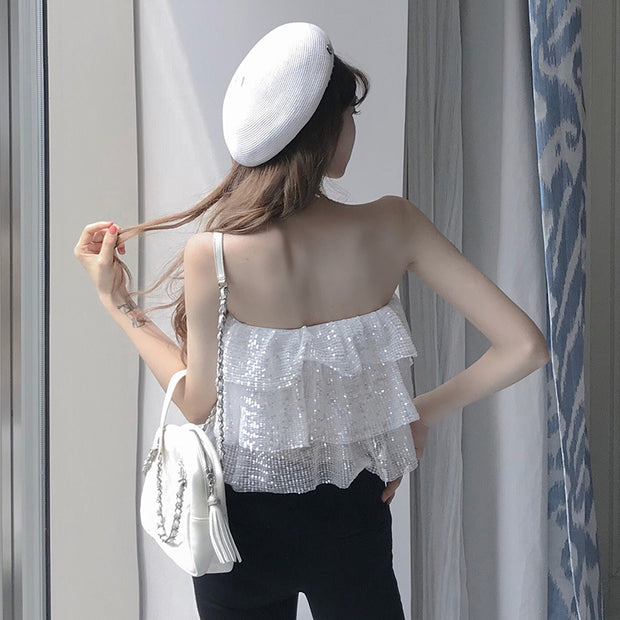 Ruffled topless strapless top