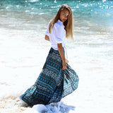 Bohemian Seaside Printed Split Skirt