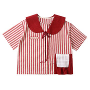Red stripes thank you for your doll's blouse, cotton and linen shirt