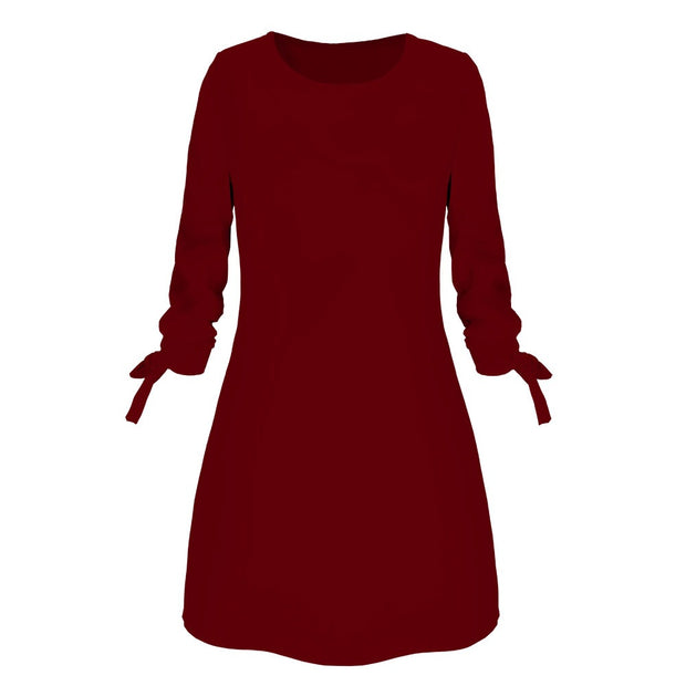 Women Solid Color Casual Mini Dress