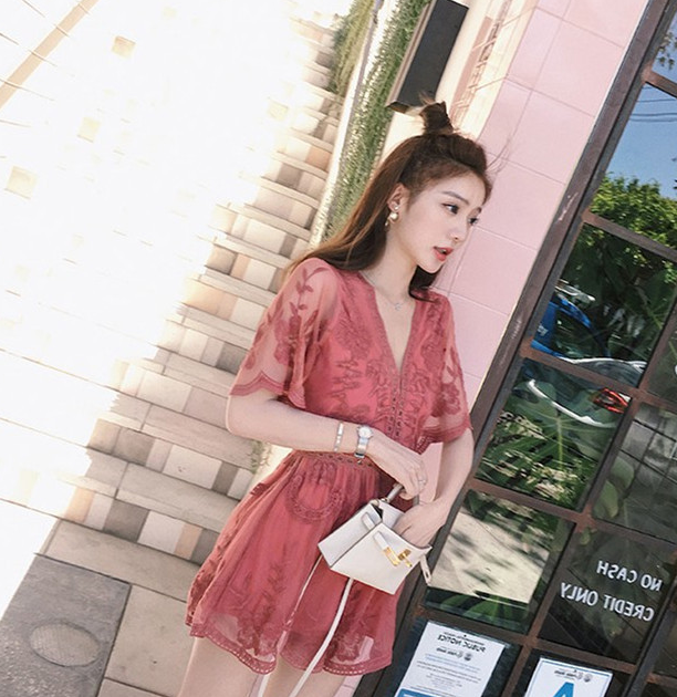 Women Wide-leg Embroidery Mesh Backless Romper