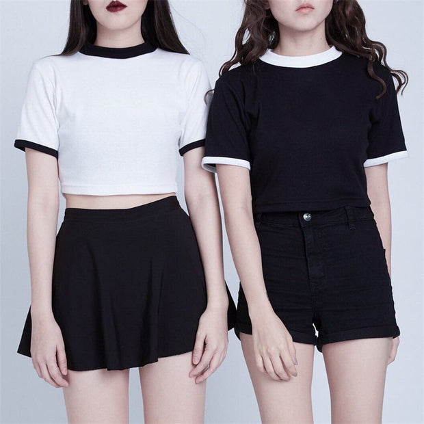 Love hollow stitching sister T-shirt short-sleeved autumn bottoming shirt