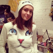 3D Cat Face Sweatshirt  Winter Cloth